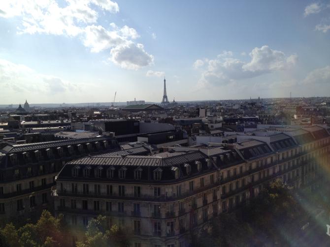Blick von der Terrasse der Galeries Lafayette in Paris