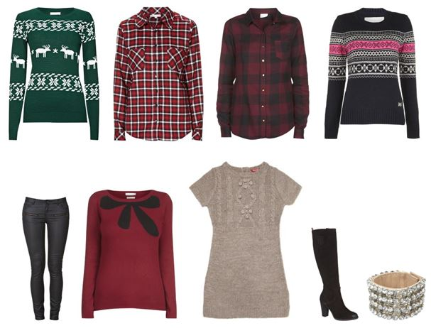 Collage Weihnachtsoutfit - kuschlige Outfits