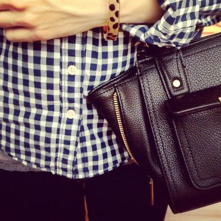 Insta Outfit Karohemd und Phillip Lim for Target Tasche