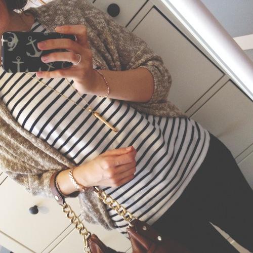 Outfit - Oversize Cardigan und Streifen