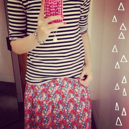 Outfit Printmix Streifen und Blumen