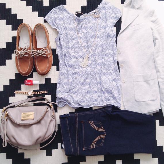Outfit - blau und grau