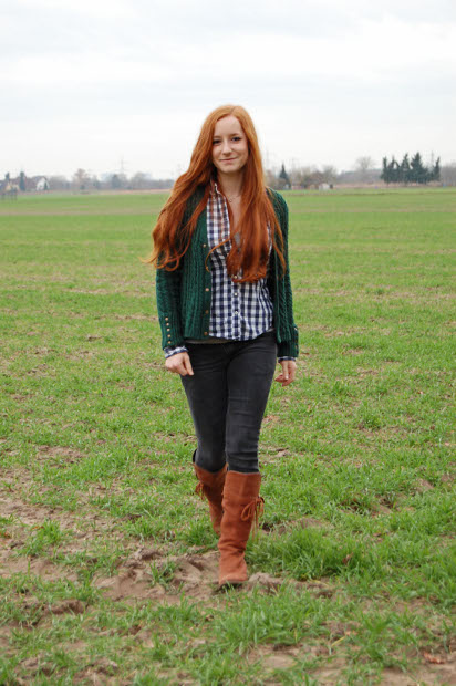 winterliches Outfit mit Strickjacke 1